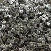 Hotsale 10MM Cube Fashion Acrylic Letters Silver Metal Alphabet Beads For Bracelet Wholesale