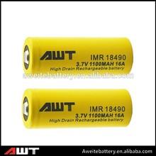High power 1100mah battery 3.7v li-ion AWT 18490 rechargeable battry 1865 li-ion battery