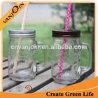 Vintage Style Mason Glass Jar With Straw 12oz