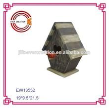 100% hechos a mano azul y blanco de madera de keychain del birdhouse