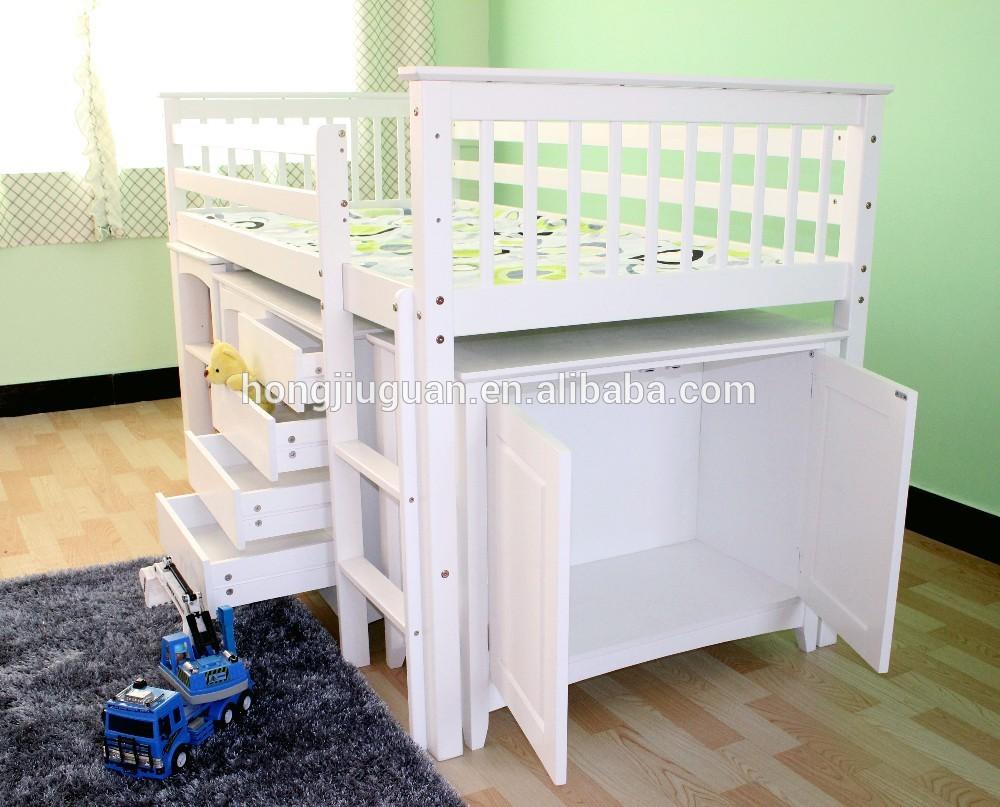 Massief grenen houten bed met kast midden sleeper hoogslaper bedden product id 60111720738 - Kast kind grenen ...
