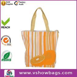 paper straw s canvas tote bag stripe print paper straw beach bag