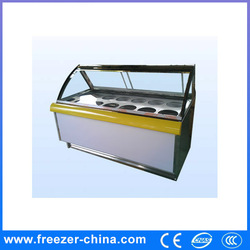 curved glass door display freezer for ice cream chain or cake shop or Coffee Bar