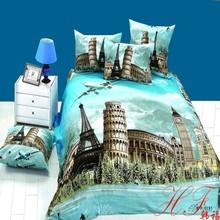 Fashion European style building design pure cotton 3d bedding set for home