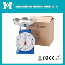 2014new design 10kg/50g plastic kitchen scale with bowl