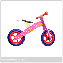 pink lovely wooden bicycle with wheel 12inch