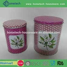 Round tea or food storage tin can jar