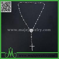Long jesus cross pendant heart link chain trendy necklace 2014
