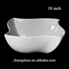 Stock white square wave ceramic soup salad bowl