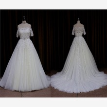 2015 wholesale Pearls bow vintage lace wedding dresses 2012