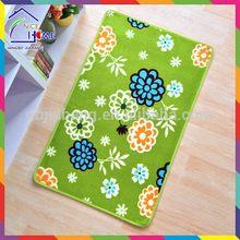 Print green flowers most popular stylish polyester shaggy floor carpet /mat