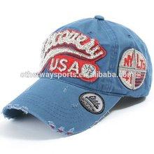 usa blue cotton twill washed sports headwear