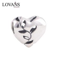 Hollow Out Heart Charms With Leaves 925 Sterling Sliver Beads Compatible For European Style Bracelets Diy Making YZ285