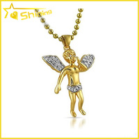 925 silver micro pave floating Cherub Angel Gold CZ Pendant