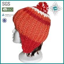 Pom pom handmade and winter hats with earflaps