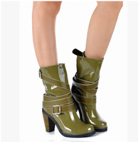 Top quality thick high heel boots belt buckles boots for women patent leather women boots