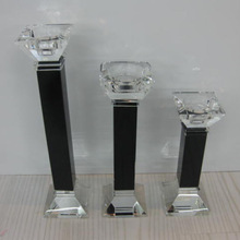 Fashion clear with black color pillar shape crystal candle holder for home decoration