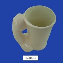 Decorative Ceramic Dolphin Shaped Handle White Hot Water Bottle