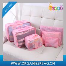 Encai New Arrival Travel Clothing Organizer Bag Set 6PCS Storage Mesh Pouch Colorful Cosmetic Bag 6pcs/set For Journey