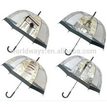 NU-126 Beautiful Eiffel Tower Big Ben Triumphal arch Pattern 6 mix Pattern Wholesale Umbrella Transparent
