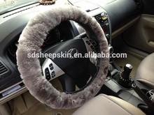 Patchwork Sheepskin Skull Steering Wheel Cover