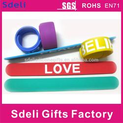 Top Quality Colorful Printed Customized Silicone Slap Bracelet/Slap wristband/rubber slap band