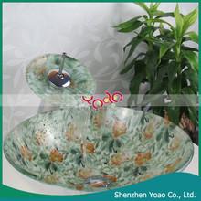 Practical Round Sanitary Glass Basin , Modern Bathroom Sink