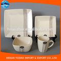 Melange linhas pretas de porcelana quadrada 32- lugar pedaço configuração, serviço para 8