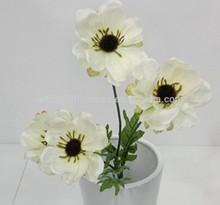 Artificial poppy white bush flower 4 heads