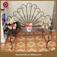 Popular indoor outdoor decorative metal leg garden bench