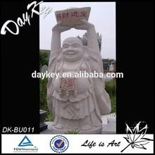 White marble stone laughing buddha statue