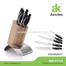 Kitchen Good Helper Stainless steel knife block set , 6 Piece with Wood Holder