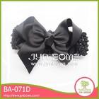 The black butterfly BA-071D girls satin bow elastic headband