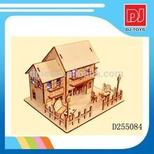 2014 popular toys 3D wooden puzzle hotel ,wooden toys ,diy wooden building block D255084