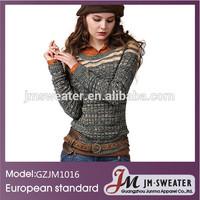 Women's wool flat knitting sweater