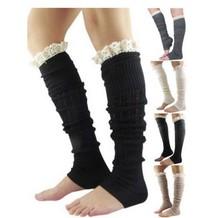 Women's Winter Leg Warmers Solid Color Crochet Lace Trim Knit Boot Cover Socks