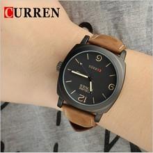 Fashion Leather Strap Clocks Japan Movement curren watch for men