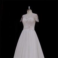 Traditional bateau neckline backless bias cut wedding dress