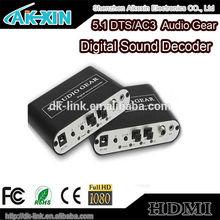 5.1 Channel Audio Gear Digital Sound Decoder - Optical SPDIF/ Coaxial Dol-by AC3 DTS Analog Audio