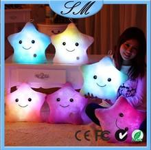 LED plush pillow cushion/star-shape plush pillow