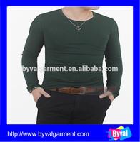 Custom Wholesale 100% Cotton Men's Bottle Green Blank O Neck Long Sleeve T shirts