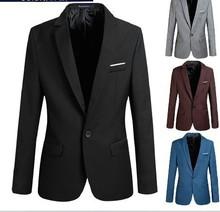 2015 Men's Formal Jacket Fashion Suit Casual Slim Fit One Button Blazer Coat plus size xl,xxl,xxxl