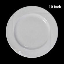 10'' Stock white round ceramic dinner plate
