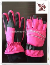 Girl Red Rose Waterproof Ski Snow Gloves Nylon Taslon Soft PU Snowboard Ski Gloves