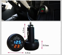 The Newest , Fashion Monitor CAR voltage meter around dc12v,dc24v. Monitor car inside temperature. 2.1A USB auto voltage meter
