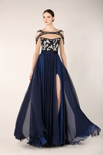 Attractive Charming A-Line Chiffon Evening Dress Prom Gown Formal Long Beaded Short Sleeve Spilt Evening Gown Party Prom Dress