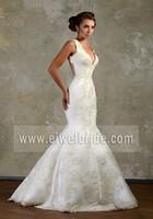 Amazing Wholesale Sleeveless Neckline Backless Appliqued Fishtail Wedding Dress
