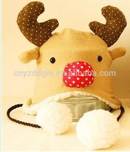 plush baby hat with earflap/baby plush animal shape hats/baby warm christmas deer hat