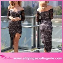 New Wholesale Black Lace Asymmetrical Wrap dress maxi