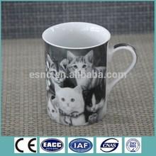 Cheap porcelain tea mug with cat design